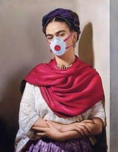 Frida Kahlo with coronavirus mask