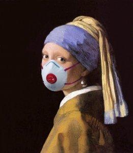 La Joven de la Perla con máscara coronavirus