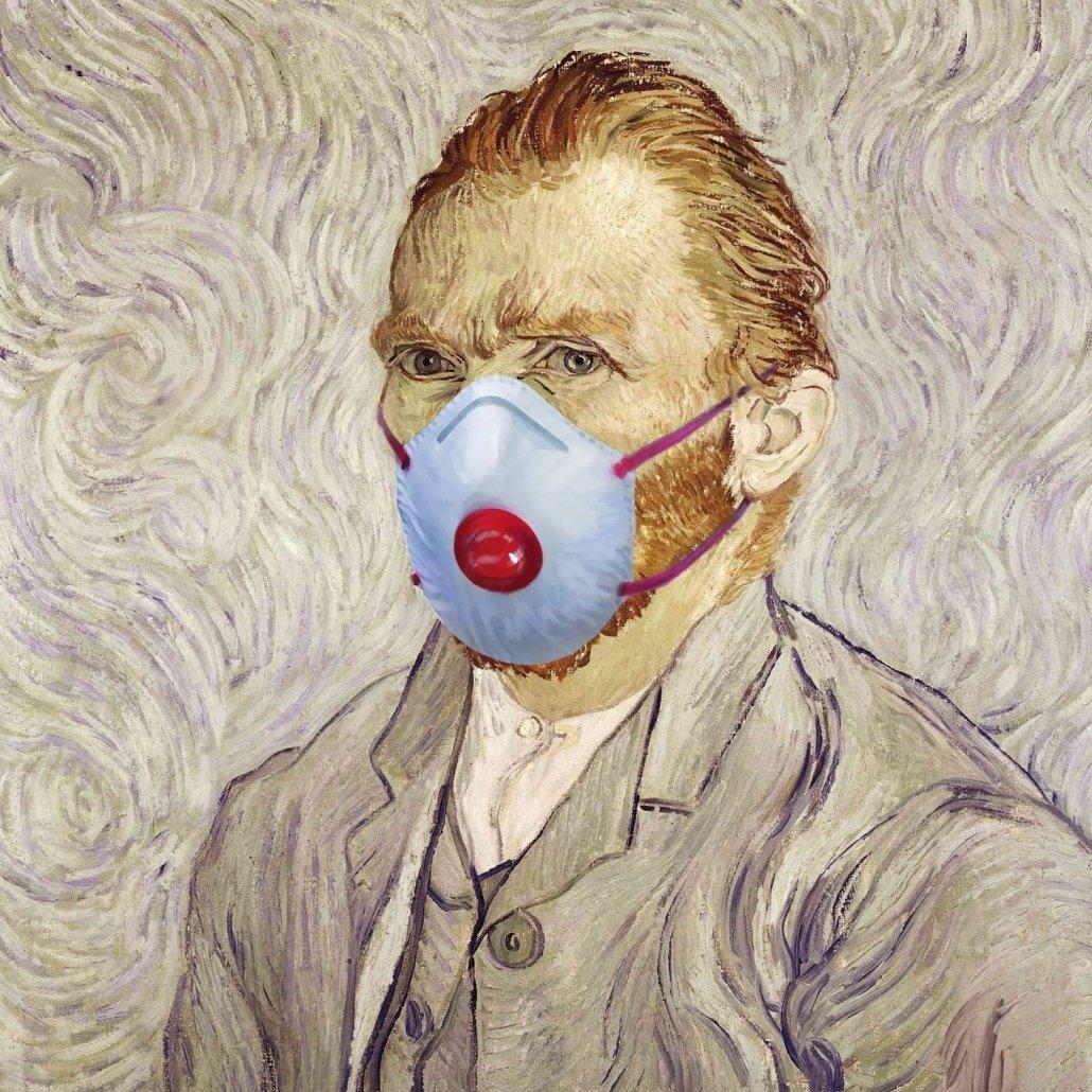 Van Gogh with Coronavirus mask