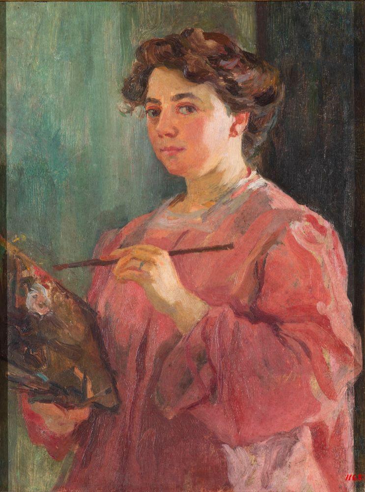 Lluisa Vidal Autorretrato 1899. Óleo sobre tabla. Mujeres artistas