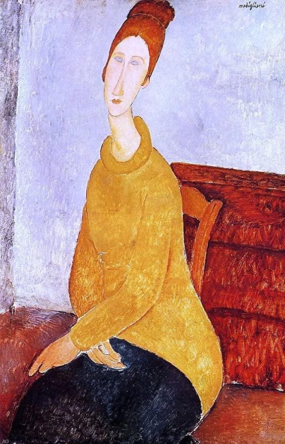 Retrato de Jeanne Hébuterne con Jersey Amarillo