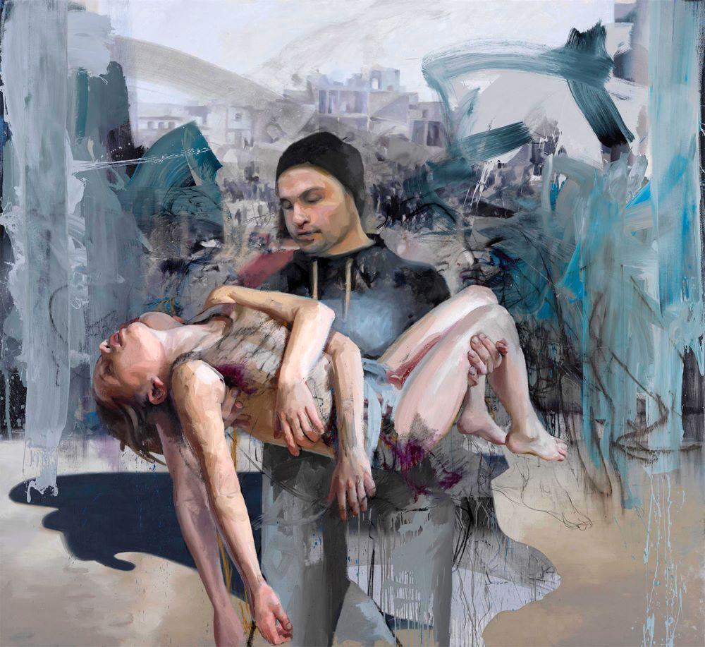 "Jenny Saville. ""Blue Pietà"". Óleo sobre tela. 2018"