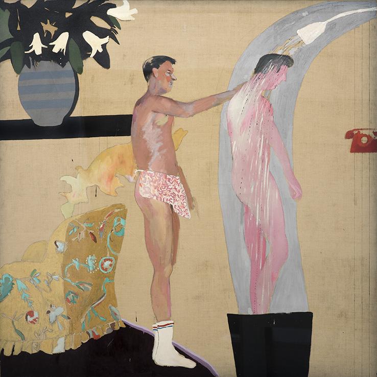 Arte Queer. David Hockney_Domestic Scene_1963_Óleo sobre tela_Colección Privada